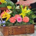 Floral Arrangement in an Antique Wooden Box